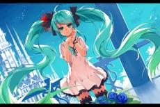 Konachan.com - 190473 aqua_eyes aqua_hair bow dress flowers haraguroi_you hatsune_miku long_hair ribbons rose thighhighs twintails vocaloid wristwear zettai_ryouiki