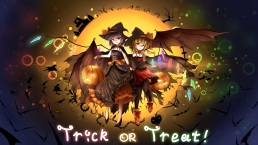 Konachan.com - 190520 animal bat blonde_hair blue_hair boots bow candy halloween hat lollipop minust moon pumpkin red_eyes remilia_scarlet touhou wings witch_hat