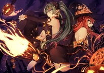 Konachan.com - 190551 2girls animal bat blue_eyes dress fire halloween hat horns long_hair navel pumpkin red_hair stockings twintails vocaloid wings witch witch_hat
