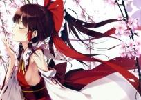 Konachan.com - 190662 brown_hair flowers hakurei_reimu japanese_clothes ke-ta long_hair miko petals sideboob touhou