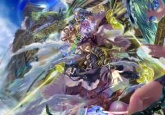 Konachan.com - 190792 ass blue_eyes blue_hair building chain dress fang green_hair group hat houen long_hair panties red_eyes short_hair touhou underwear unzan wings