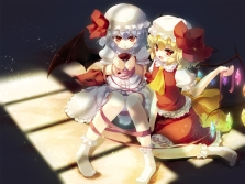 Konachan.com - 190908 2girls blonde_hair blue_hair bow flandre_scarlet gengetsu_chihiro hat red_eyes remilia_scarlet short_hair skirt socks touhou wings