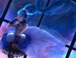 Konachan.com - 191012 7th_dragon_2020 blue_eyes blue_hair choker hatsune_miku headphones long_hair skirt sky stars thighhighs twintails vocaloid wristwear zettai_ryouiki