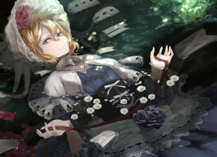 Konachan.com - 191215 alice_margatroid dress flowers gothic hat kumonji_aruto petals ribbons rose touhou water wet