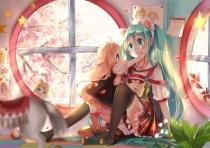 Konachan.com - 191403 blonde_hair cherry_blossoms dress food hatsune_miku ia kagamine_rin loli lu_(tabasa1991) thighhighs twintails vocaloid