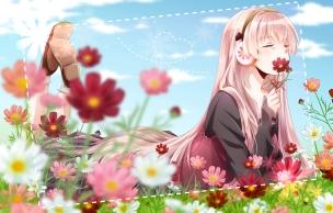 Konachan.com - 191422 flowers headphones long_hair megurine_luka pink_hair ribbons socks tsujiori vocaloid