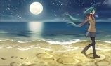 Konachan.com - 191473 beach boots green_hair hatsune_miku kari_kenji long_hair moon pantyhose scarf seifuku skirt twintails vocaloid water