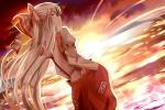 Konachan.com - 191496 bow fujiwara_no_mokou indo_(mdtanaka2007) long_hair red_eyes sunset touhou white_hair