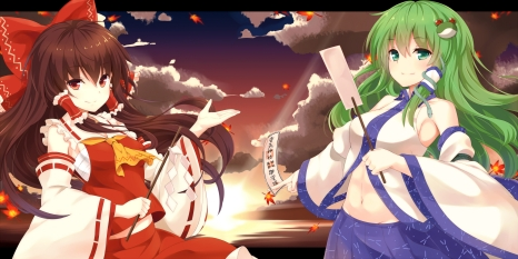 Konachan.com - 193322 2girls black_hair bow clouds green_eyes green_hair hakurei_reimu japanese_clothes kochiya_sanae long_hair miko navel ofuda red_eyes skirt touhou