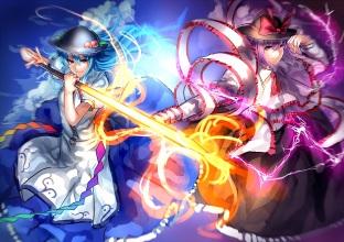 Konachan.com - 193534 2girls blue_hair bow dress hat hinanawi_tenshi long_hair nagae_iku purple_hair red_eyes short_hair sword touhou uu_uu_zan weapon