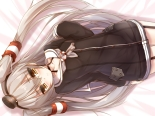 Konachan.com - 194476 amatsukaze_(kancolle) blush gray_hair headband kantai_collection long_hair syroh twintails yellow_eyes