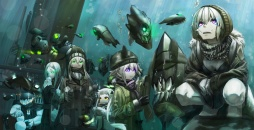 Konachan.com - 194675 aircraft breasts bubbles cleavage destroyer_hime gloves gray_hair green_eyes group hat kirii long_hair pink_eyes scarf short_hair underwater water
