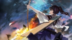 Konachan.com - 194753 black_hair bow_(weapon) brown_eyes kaga_(kancolle) kantai_collection ponytail short_hair signed skirt swd3e2 weapon