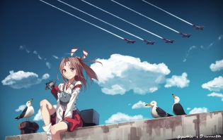 Konachan.com - 194804 aircraft animal bird brown_eyes brown_hair clouds equipments_fairy_(kancolle) headband kantai_collection ponytail sky yunamul zuihou_(kancolle)