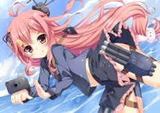 yande.re 299393 anthropomorphization fujieda_uzuki gun kantai_collection pantsu shimapan uzuki_(kancolle) weapon