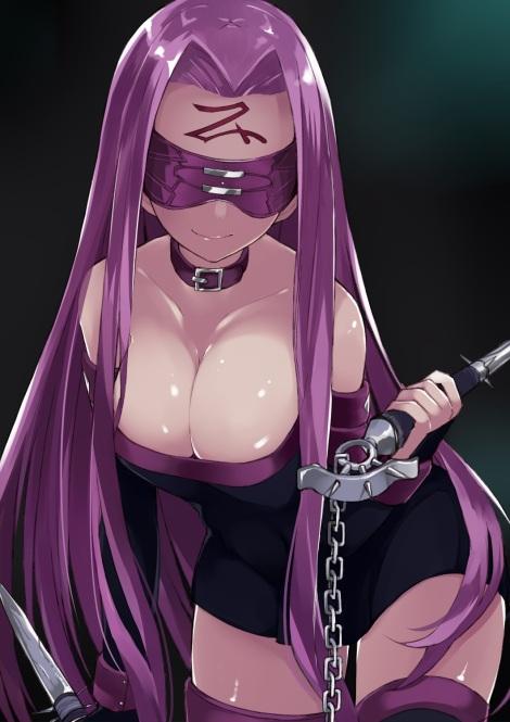 yande.re 311180 cleavage dress fate_stay_night kou_mashiro rider thighhighs weapon