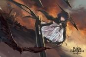 Konachan.com - 179025 animal bird black_hair brown_eyes cape dress pixiv_fantasia short_hair swd3e2 sword weapon