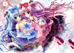 Konachan.com - 185062 2girls blue_hair dress lolita_fashion long_hair original pink_hair scan shiramori_yuse
