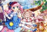 Konachan.com - 185129 fujima_takuya pink_hair scan tagme thighhighs twintails