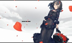 Konachan.com - 185174 ayaki black_eyes black_hair gloves original petals