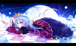 Konachan.com - 185445 blue_hair crown dress long_hair mokoppe no_game_no_life ribbons shiro_(no_game_no_life) yellow_eyes
