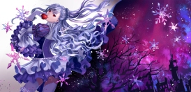 Konachan.com - 185578 apple dress fruit gloves gray_hair long_hair monogo original red_eyes thighhighs
