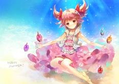 Konachan.com - 185714 dress kaname_madoka mahou_shoujo_madoka_magica pink_eyes pink_hair seal_(pukozin) underwater water