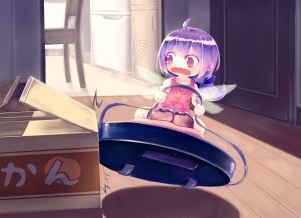 Konachan.com - 185767 anthropomorphism fairy jakku original purple_eyes purple_hair short_hair tears wings