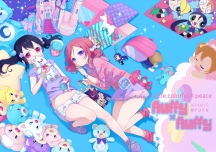 Konachan.com - 185853 2girls doll love_live!_school_idol_project neki_(wakiko) nishikino_maki shorts socks teddy_bear yazawa_nico