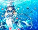 Konachan.com - 186030 animal blue_eyes blue_hair bubbles drink fish flowers headdress long_hair maid miwabe_sakura original ribbons thighhighs underwater water