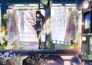 Konachan.com - 186055 black_hair brown_eyes butterfly dress flowers hat leaves long_hair original pantyhose tree umbrella uniform wristwear yong_kit_lam