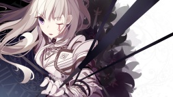 Konachan.com - 186626 armor atha long_hair original purple_eyes tattoo white_hair