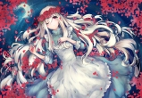 Konachan.com - 186740 dress flowers kagerou_project kozakura_mary long_hair moon petals red_eyes rose tears teka water white_hair