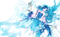 Konachan.com - 186878 blue_eyes blue_hair bubbles corset flowers halo kazune_(baumkuchen) long_hair navel original rope skirt