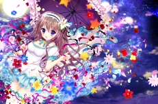 Konachan.com - 186956 blue_eyes brown_hair flowers headdress long_hair original petals ribbons shiwasu_horio thighhighs umbrella