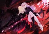 Konachan.com - 193352 2girls armor barefoot blonde_hair dark_matou_sakura fate_stay_night joseph_lee long_hair red_eyes saber_alter sword tattoo weapon yellow_eyes