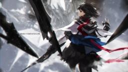 Konachan.com - 193483 black_eyes black_hair paradise_(pffk) pixiv_fantasia short_hair skirt swd3e2 weapon