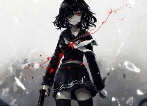 Konachan.com - 194648 aoiakamaou black_hair blood gun original red_eyes seifuku short_hair skirt thighhighs weapon zettai_ryouiki