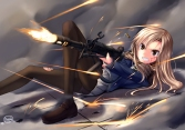 Konachan.com - 194664 blonde_hair blood dreadtie gun long_hair original pantyhose seifuku torn_clothes weapon