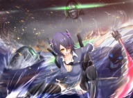 Konachan.com - 195187 katana purple_hair short_hair skirt sword tagme_(artist) thighhighs tie water weapon