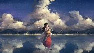 Konachan.com - 195368 .l.l black_eyes black_hair bow_(weapon) clouds japanese_clothes jpeg_artifacts kimono long_hair sky water weapon zhan_jian_shao_nyu