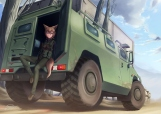 Konachan.com - 195609 animal_ears blue_eyes brown_hair building combat_vehicle dreadtie foxgirl gun military original signed tail weapon