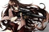 Konachan.com - 195656 blue_eyes brown_hair gloves gun long_hair navel original seifuku skirt tef weapon
