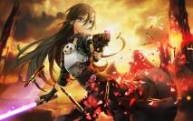 Konachan.com - 196282 all_male armor black_hair cape gun gun_gale_online hanshu kirigaya_kazuto lightsaber long_hair male purple_eyes sword sword_art_online weapon