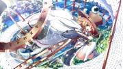 Konachan.com - 196674 animal bell blonde_hair frog hat moriya_suwako sword thighhighs touhou ugume weapon wristwear
