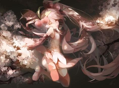 Konachan.com - 197890 cherry_blossoms hatsune_miku saihate sakura_miku thighhighs twintails vocaloid wink