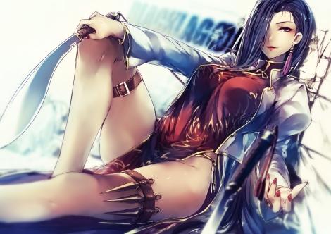 Konachan.com - 197920 black_lagoon blue_hair chinese_clothes knife kyouya_(mukuro238) long_hair panties purple_eyes shenhua underwear weapon