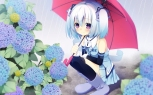 Konachan.com - 187745 1000-chan animal blue_hair blush boots flowers frog kanora purple_eyes rain short_hair skirt thighhighs twintails umbrella water