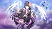 Konachan.com - 188652 black_hair blue_eyes feathers hat lolita_fashion long_hair nardack original ribbons thighhighs watermark wings