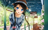 Konachan.com - 188654 black_hair blue_eyes braids dress hat kantoku original sunset